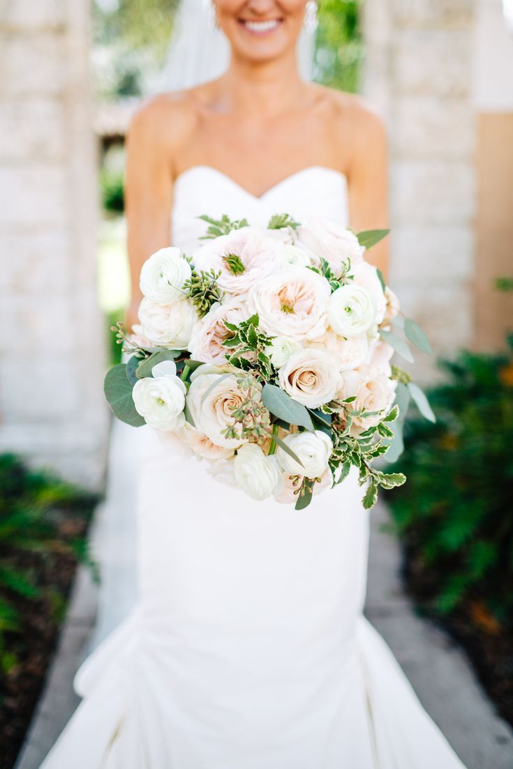 classic bridal bouquet with a softened garden feel of white ohara garden rose