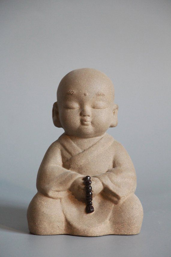 Zen style house warming gift Incense holder handmade monk statue zisha tea pet