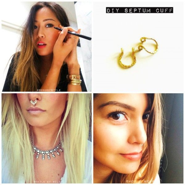 DIY Gold Septum Cuff - Song of style inspired. Gold nose ring - Jewellery Do It Yourself
