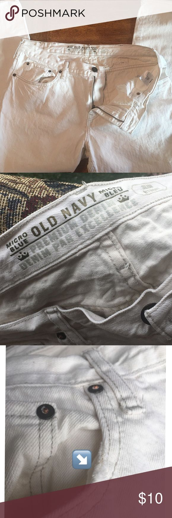 OLD NAVY Premium Denim Cargo Pants  38X30 White Denim. Rugged construction for rugged men   Used with some sign of wear and some small, faint spots. Old Navy Pants Chinos & Khakis