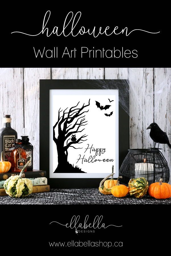 Happy Halloween Sign PRINTABLE Wall Art Haunted Spooky Tree Owl