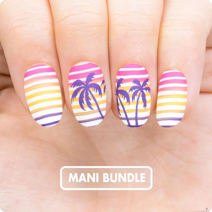 Holy Shapes 02, Tropical 11    Stamping Nail Polishes:  ● White Knight  ● Sweet Custard  ● PINK!  ● Purple Rain