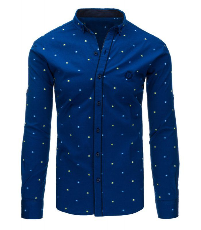 Modrá pánska košela so vzorom a dlhými rukávmi. Zapínanie na gombíky. Golier s gombíkom. Vhodné na celodenné nosenie a obzvášť na večerný styling.