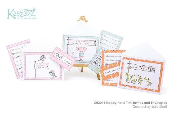 2H2041 Happy Hello Tiny Invites and Envelopes