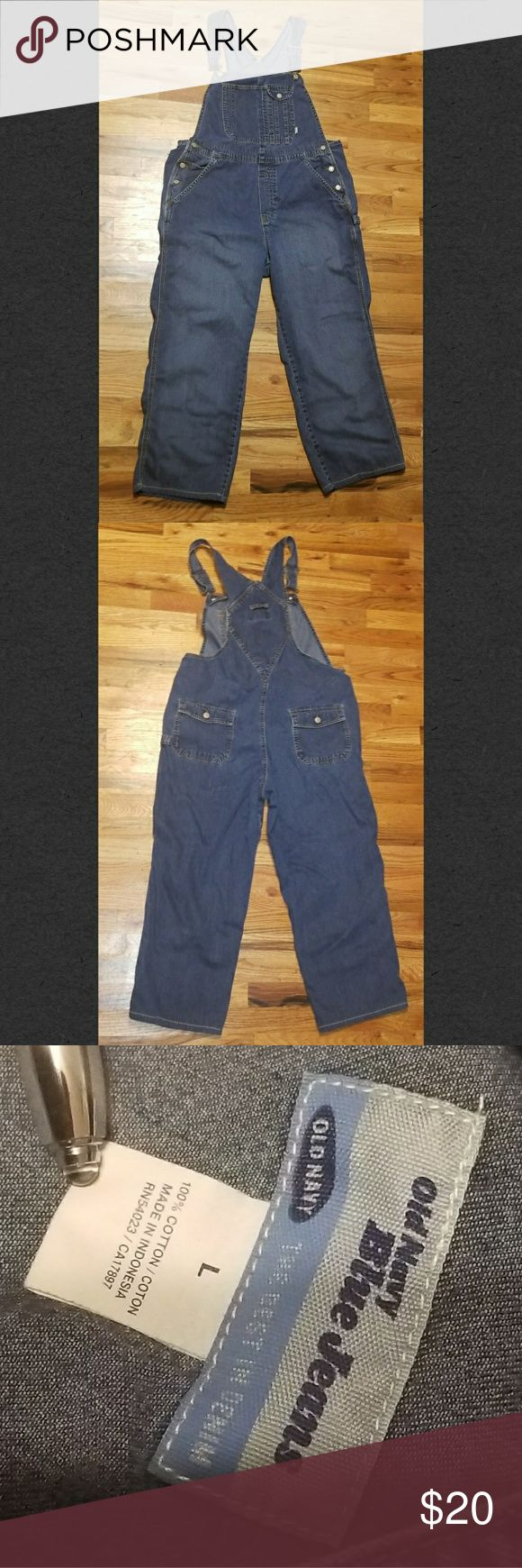 Old Navy Denim Overalls They're BACK!!! Old Navy Denim Overalls, size Large. Cut them off, roll them up, distress them, or wear them as they are! Ready for your creative mind!!! Old Navy Jeans Overalls