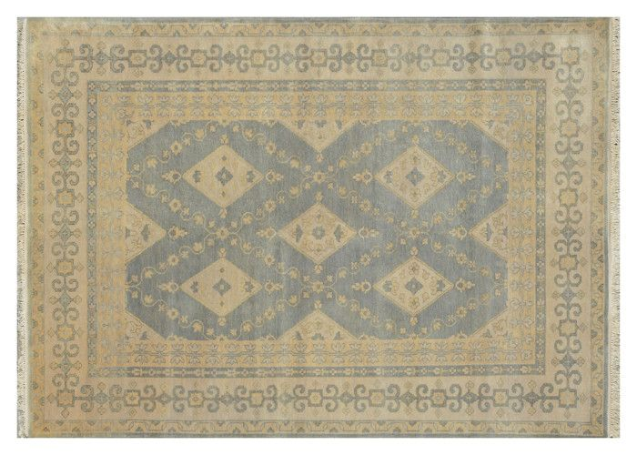 Hand Knotted Area Rug 6x9 Oushak Floral Rug Soft Steel Blue Rugs for Bedrooms