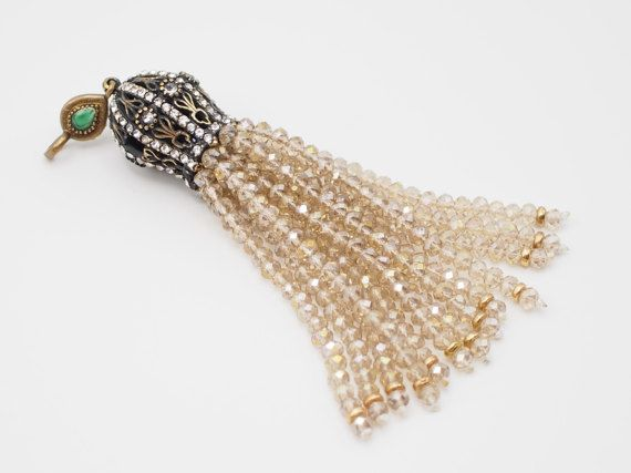 Tassel Pendant with Champagne Crystal Stone Jewelled