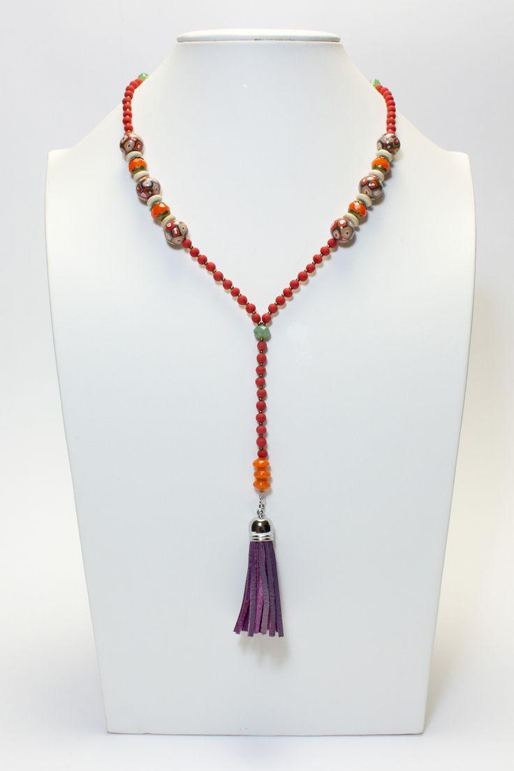 Collier multicolore pompon violet #gadhorre #jewelry