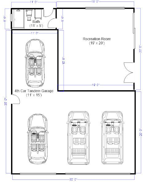 33 best house plans images on pinterest architecture for Dimensions of 2 car garage