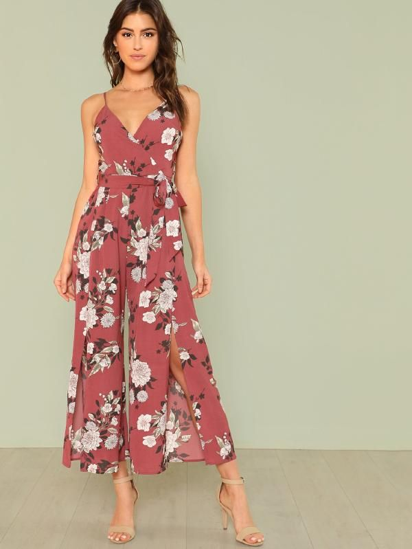 Volontà fisicamente calze autoreggenti  Tuta Cami con stampa floreale a fessura | Floral print jumpsuit, Bridal  jumpsuit, Cami jumpsuit