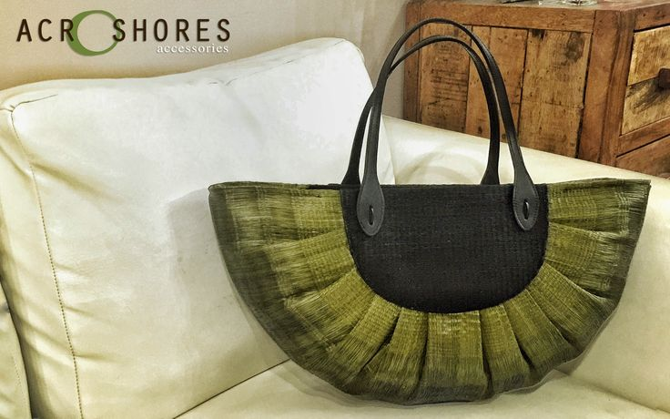 Olive Sun Bag with leather shoulder strap. Buntal bags
