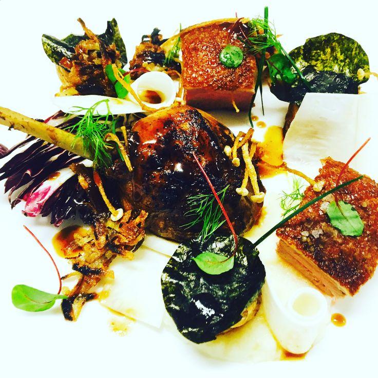 Roast duck 2 ways, celeriac fondant, mushrooms & radicchio (GF)