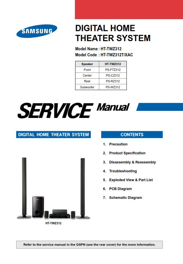 Samsung Ht Twz312 Twz312t Service Manual Repair Guide Repair Guide Home Theater System Samsung