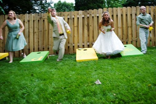 Wedding cornhole is a must. Multiple sets so lots of people can play. Roger can make the boards and my mom can make the bags! Cheap and customized!