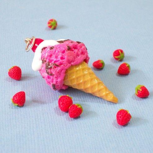 Strawberry Ice-cream Pendant