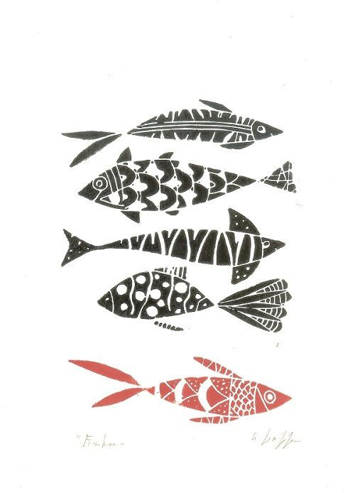 Fishes Linocut - Original Print - Lino Print - Hand Pulled Print - Black and Red