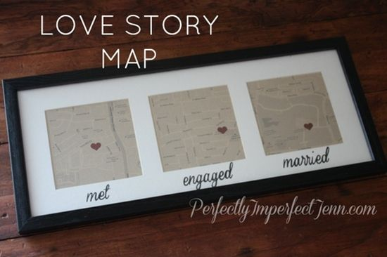 map with where you met, got engaged and got marrie