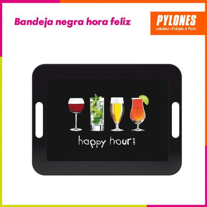 Bandeja negra hora feliz #Hogar #Casa #Color