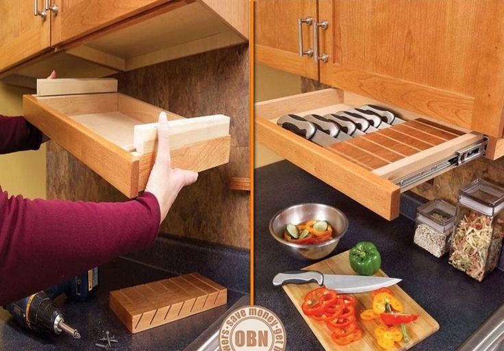 I really like this idea for knife storage. It keeps them out of reach of children, but within easy reach of the cook. If you're looking for kitchen storage inspiration, you'll find it on our site at http://theownerbuildernetwork.co/ideas-for-your-rooms/home-storage-gallery/kitchen-storage/ What do you think of it?