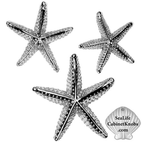 Starfish Drawer Knobs Cast In Fine Pewter. Finished In Brushed Nickel,  Chrome Or Custom