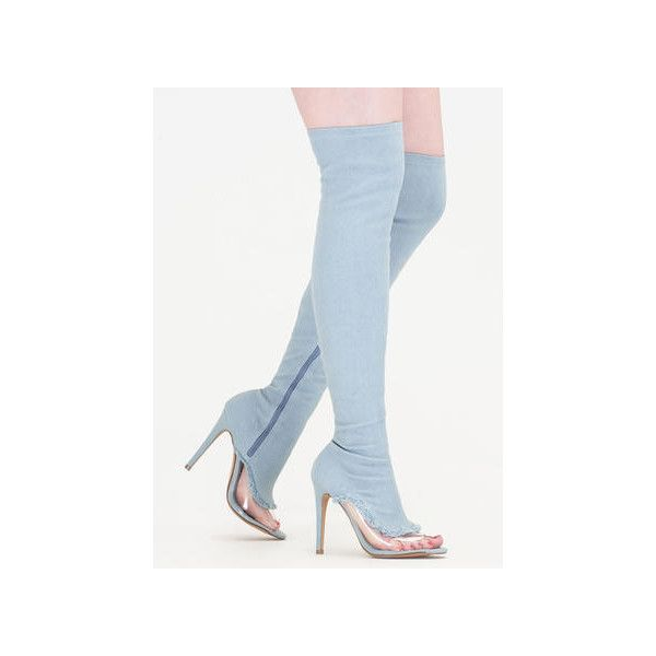 Partly Clear Over-The-Knee Denim Boots ($52) ❤ liked on Polyvore featuring shoes, boots, blue, over-the-knee boots, blue boots, stretch thigh high boots, thigh high boots, blue thigh high boots and thigh high heel boots