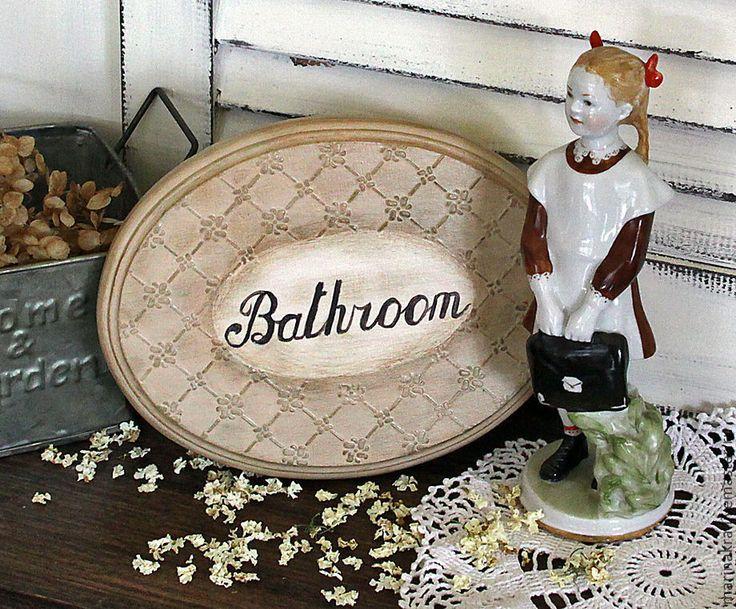 """Купить Таблички для ванной и туалета """"Благородный беж"""" - бежевый, табличка, табличка на дверь, ванная комната"""