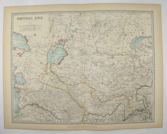 Turkestan Map 1905 Johnston Map Russian Turkestan, Bokhara Map, Middle East Asia Map, Man Cave Art Gift for Him, Asian Geography Vintage Map available from  OldMapsandPrints.Etsy.com #CentralAsia #Turkestan #RussianTurkestan