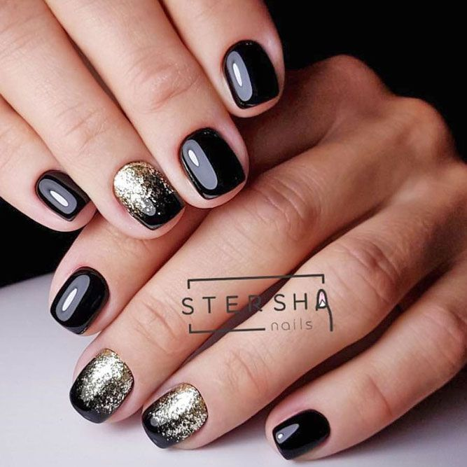 Black Glitter Nails Designs That Are More Glam Than Goth ★ See more: http://glaminati.com/black-glitter-nails-designs/