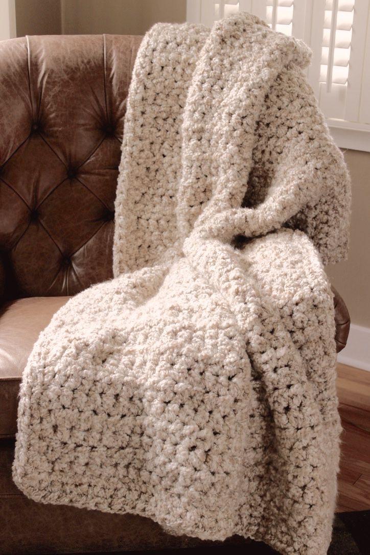 Super Chunky Seven Pound Crocheted Blanket In Homespun