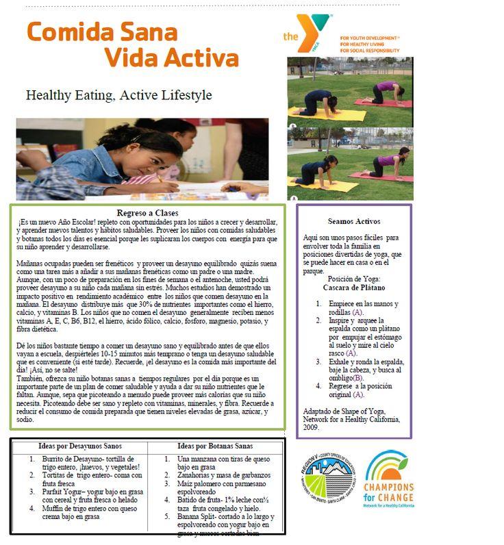 September Parent Newsletter p.1 in Spanish. For original copy email noora.mousa@ymcasv.org