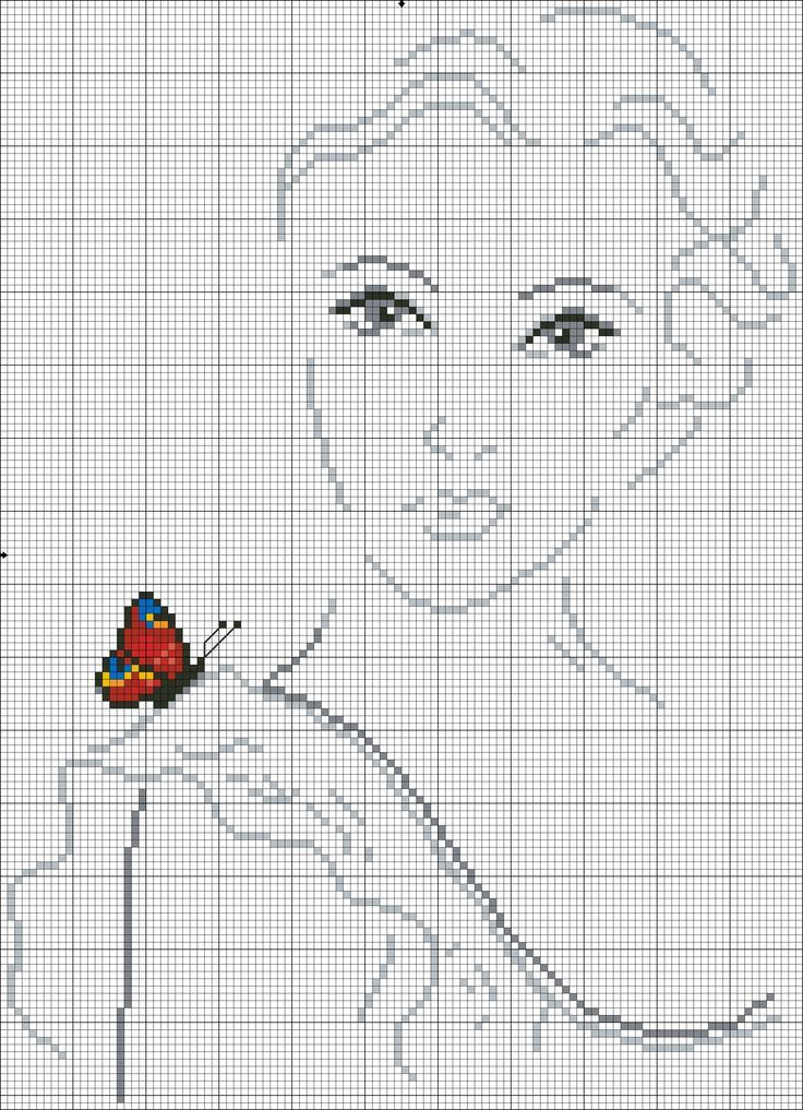 0 point de croix femme avec papillon sur son épaule- cross stitch woman, girl with butterfly on her shoulder