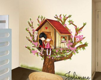 Cherry blossom vinyl wall decal cherry blossom wall by jolinne