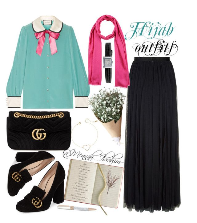 """""""#Hijab_outfits #modesty #Gucci #lovely"""" by mennah-ibrahim on Polyvore featuring Gucci, Needle & Thread, Salvatore Ferragamo, Swarovski and Wyld Home"""
