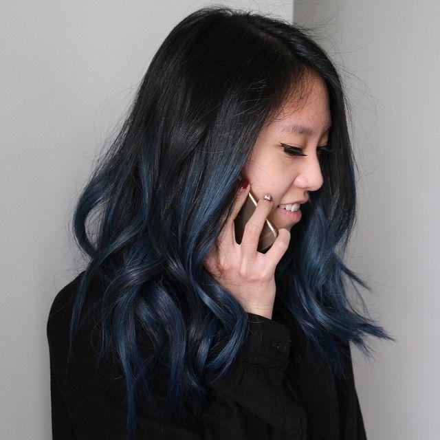 """Candid moments  taken and styled by @donovanmills #hair #haircolor #color #bluehair #pravana by #mizzchoi @ramireztransalon #ramireztran…"""