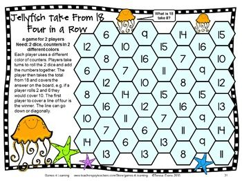 Be the first to make four in a row on this subtraction board game from Subtraction Board Games with Sea Friends by Games 4 Learning - 27 printable subtraction games. Kids LOVE math with these subtraction math board games! $