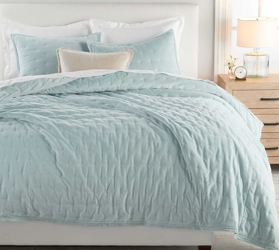 Blue Bedding   Pottery Barn   Quilted sham, Luxury bedding ...
