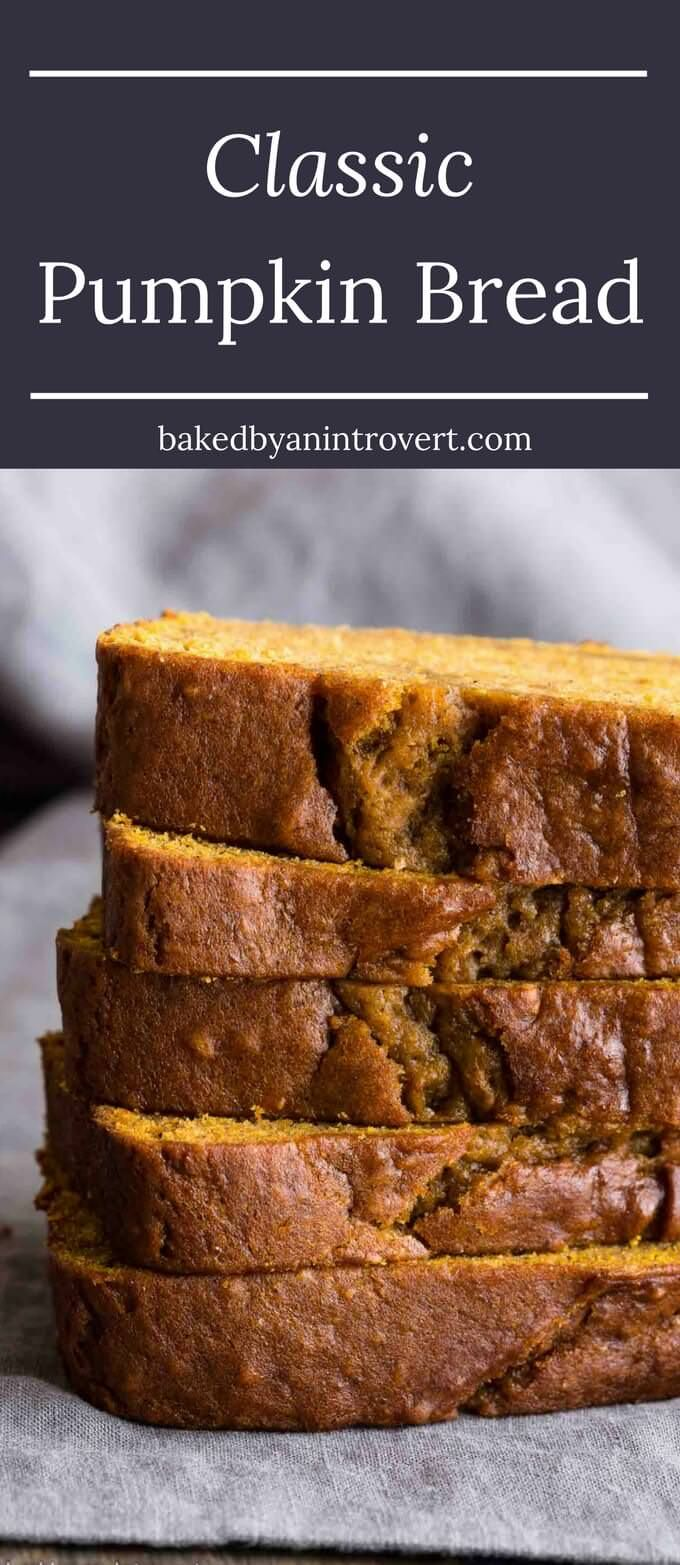 When you take a bite of this classic Pumpkin Bread, you will fall in love with pumpkin all over again. The bread is full of rich pumpkin flavor and warm spices. It's sweet, fresh, and will be the best pumpkin bread you've ever had. via @introvertbaker
