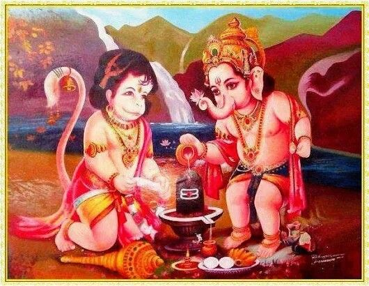 Hanuman and Ganesh performing prayer to Shiva Lingam