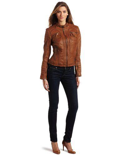 Michael kors leather jacket brown