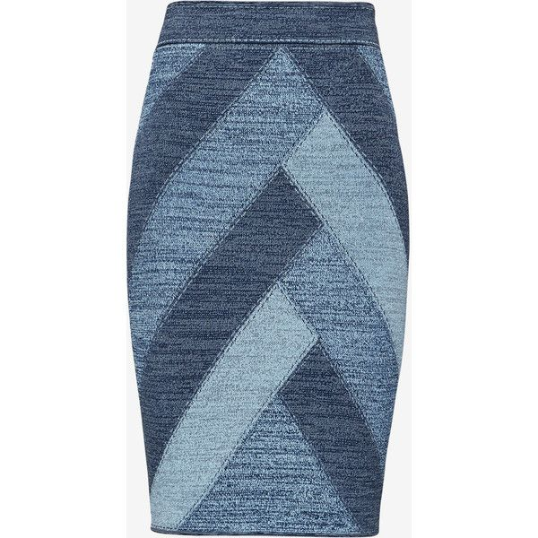 BCBGMAXAZRIA Patchwork Pencil Skirt ($198) ❤ liked on Polyvore featuring skirts, bcbgmaxazria, jacquard pencil skirt, blue skirt, pencil skirt and patch skirt