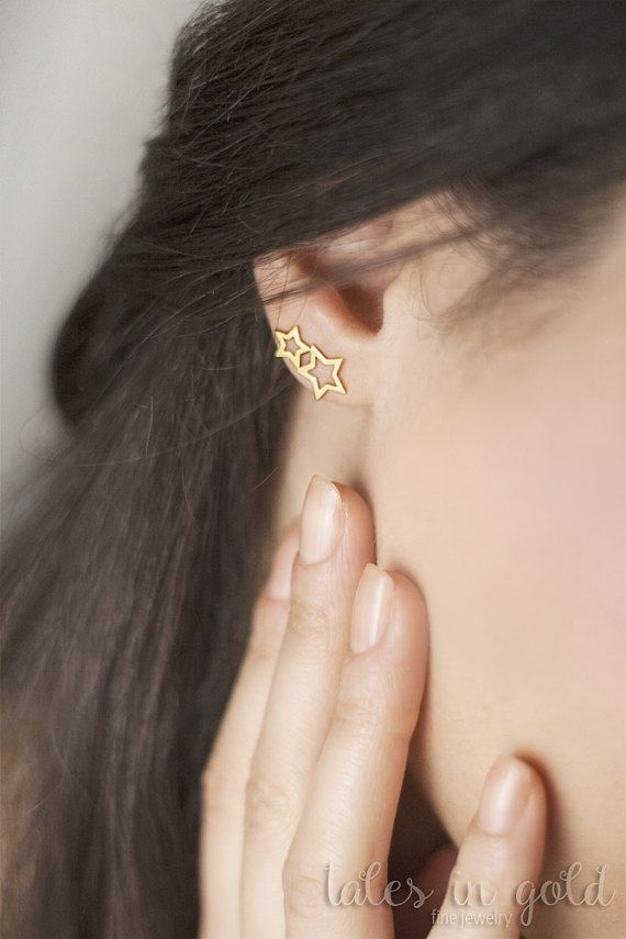 Gold Earrings, Star Earrings, 14 karat gold Earrings, Minimal Earrings, Simple Everyday Jewelry, Elegant Earrings, Stud Earrings