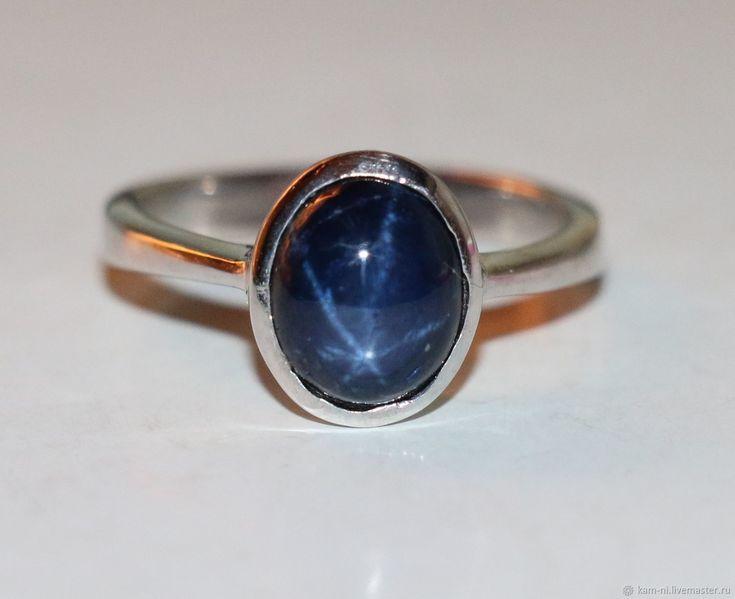 Кольцо сапфир звёздчатый натуральный природный серебро 925 – купить в интернет-магазине на Ярмарке Мастеров с доставкой