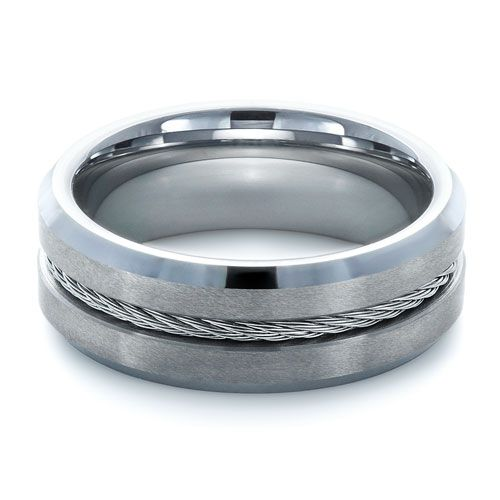 #1357 Tungsten jewelry is available at Joseph Jewelry.This tungsten carbide men's ring features a braided stainless steel cable in a channel and brushed...