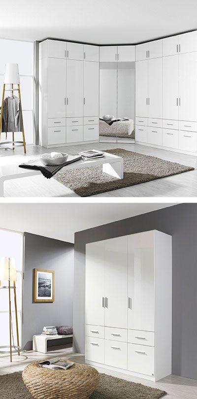 KLEIDERSCHRANK in Weiß Schlafzimmer Pinterest - schlafzimmer mit eckschrank