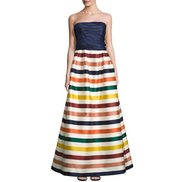 Carolina Herrera Strapless Striped Gown ($6,490) ❤ liked on Polyvore featuring dresses, gowns, carolina herrera evening gowns, strapless dresses, white dress, strapless ball gown and white evening dresses