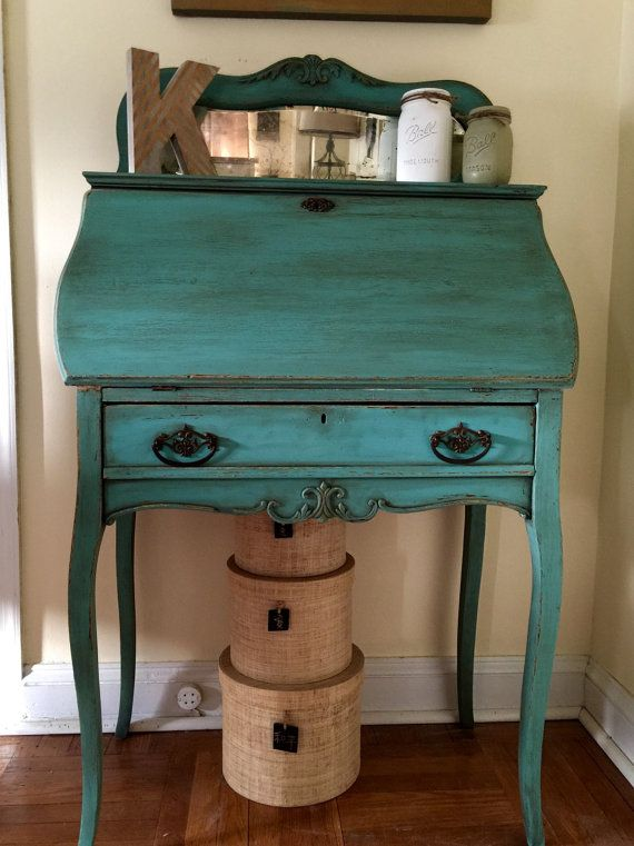 Vintage 1940's French Secretary Desk Hand by ColorfulHomeDesigns   Furniture  Painted Shabby Farmhouse Cottage in 2018   Pinterest   Secretary desks, ... - Vintage 1940's French Secretary Desk Hand By ColorfulHomeDesigns
