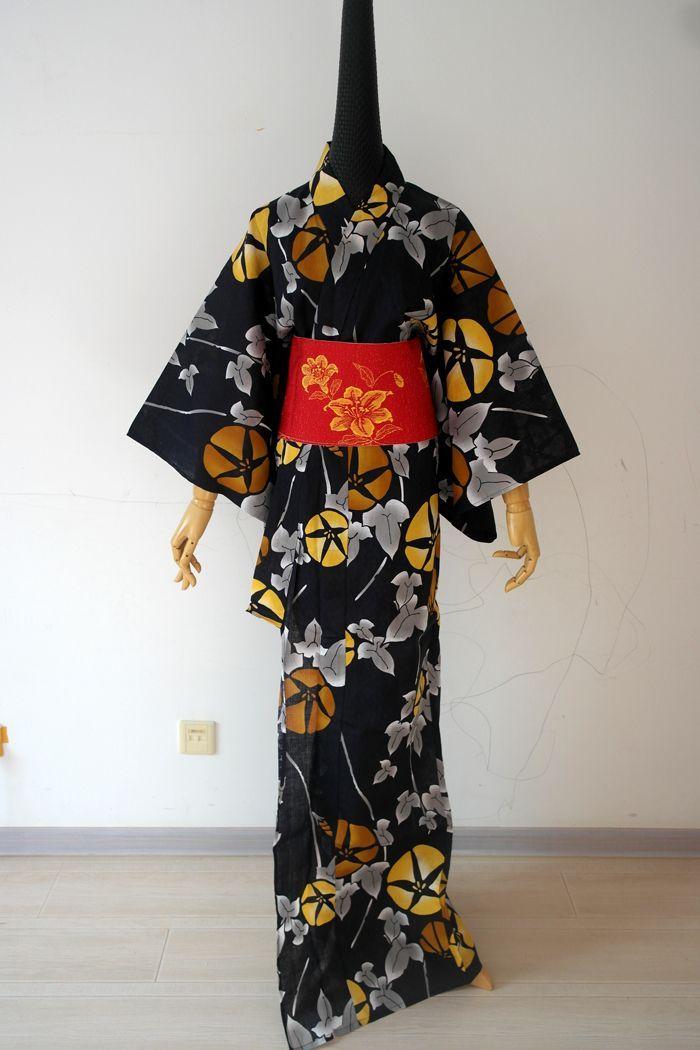 Japanese Traditional Cotton Kimono with Obi Japan Flower Bathrobes Vintage Flower Evening Dress Cosplay Costume 022812