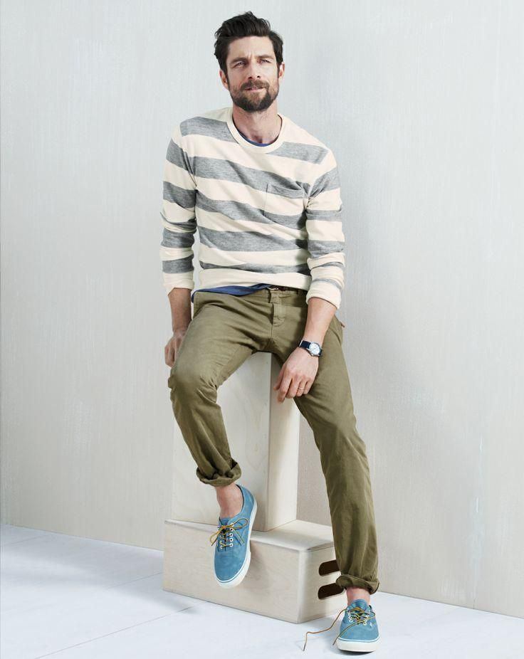 Start with a navy and white horizontal stripe sweater and wear with chinos.  Check out our collection of horizontal stripe outfits for men.