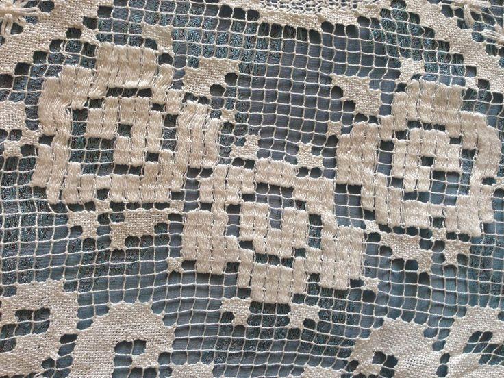 Beautiful Vintage Handmade Filet Lace Motif | eBay
