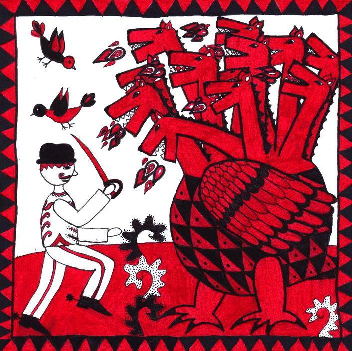 székely népmesék, folk art, black-white-red, dragon, fairytale